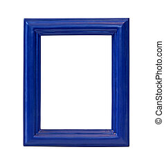 Blue frame - Blue wooden frame isolated with clipping path...