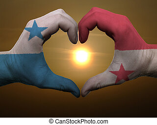 gesto, hecho, Panamá, bandera, coloreado, Manos,...