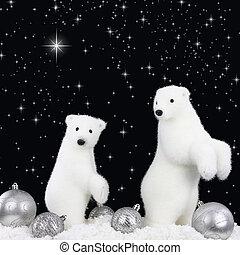 blanco, oso, nieve, navidad, noche