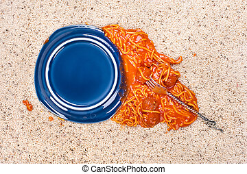 Dropped plate of spaghetti on carpet - A dropped plate of...