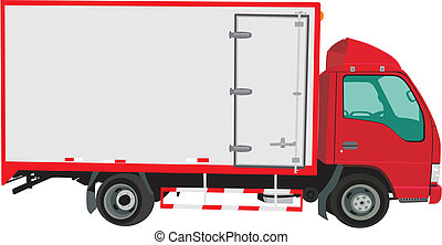 Lorry - Vector red lorry isolated on white