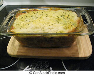 Casserole topped with potatoes - Just out of the oven and...