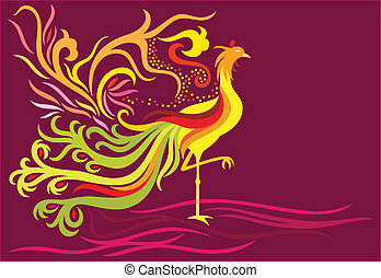 Fantasy phoenix - a decorative phoenix with feather flowing...