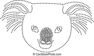 Dots Koala - rhinestones/ outline dots of a koala