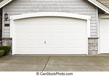 New Paint Job on Garage Door Frame - New white paint job on...