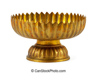 Old antique vintage gold, brass bowl, isolated on white...