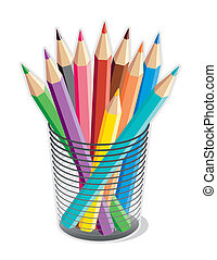Colored Pencils - Collection of 10 multicolored pencils in a...