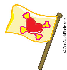 Pirate love flag - a flag with pirate symbol of bones...
