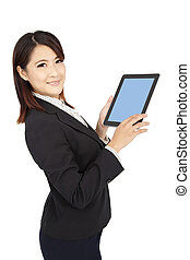 smart businesswoman holding touch pad computer and isolated on white