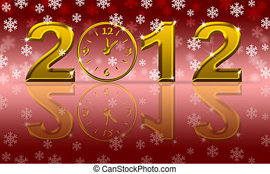 Gold 2012 Happy New Year Clock with Snowflakes