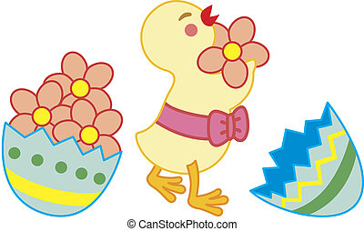 Chick collect flowers