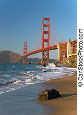 The Golden Gate Bridge in San Francisco during the sunset...