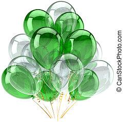 vert, blanc, fête, Ballons, classique