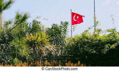National flag of turkey waving in the wind in sunny day with...