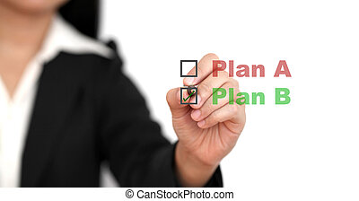 Business Plan B - Asian business woman select plan B for...