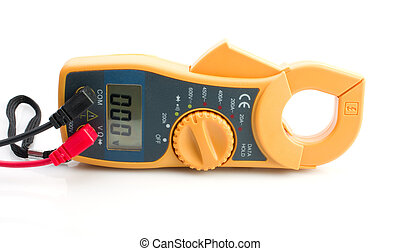 Digital clamp meter on white background.