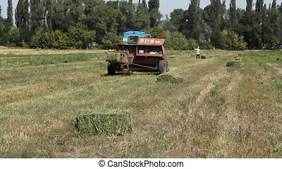 Tractor 6 - Farm machinery gathering hay for animal fodder