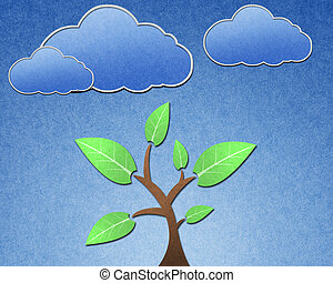 Tree and blue sky recycled paper craft stick