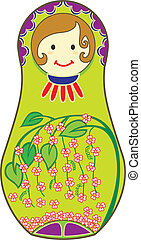 Green Matryoshkas - Decorative Matryoshkas illustrated with...