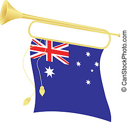 Vector illustration bugle with a flag Australia