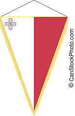 Vector image of a pennant with the national flag of Malta