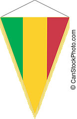 Vector image of a pennant with the national flag of Mali
