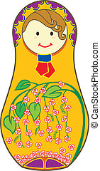 Orange Matryoshkas - Decorative Matryoshkas illustrated with...