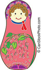 Pink Matryoshkas - Decorative Matryoshkas illustrated with...