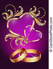 casório, anel, dois, corações