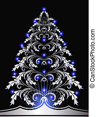 Christmas fur-tree - Christmas silver fur-tree with blue...