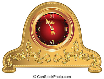 Antique clock with floral ornament