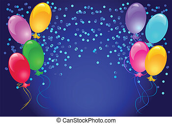 Balloons and confetti - Celebratory abstract background with...