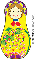 Yellow Matryoshkas - Decorative Matryoshkas illustrated with...