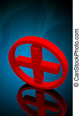 Red cross symbol - Digital illustration of a red cross...