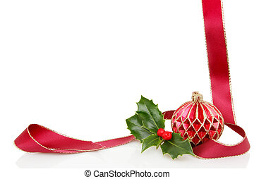 Ribbon ball and holly frame - A Christmas themmed frame or...