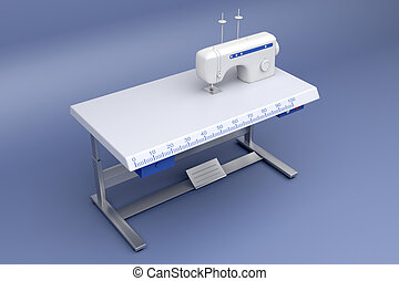 3d industrial sewing machine - 3d illustration of industrial...