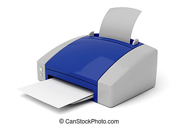 Printer on white background. 3d image.