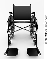 Black wheelchair on a light background.