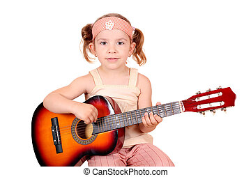 young girl play guitar