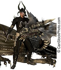 The Dragon Lord and Dragon - Dragon Lord knight in horned...