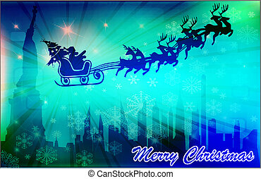 Christmas in New York - Santa in his sleigh with his...