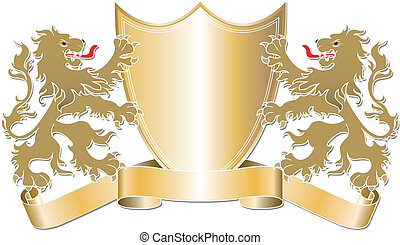 Lions and Shield Graphic - Editable vector illustration of...