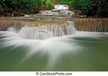 Tropical waterfall - Huay Mae Khamin Waterfall First Level,...