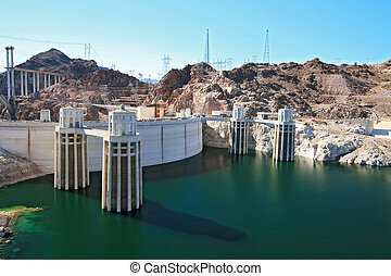 Hoover Dam - Water intake towers at Hoover dam Arizona and...