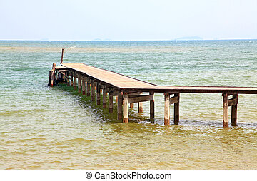 landscape of wooden pier in tropical paradise beach sea,...