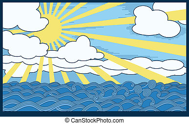 landscape - scene with sea, clouds and sun. A Vector .eps 8...