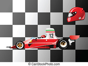 racing car - vector illustration of retro formula 1 racing...