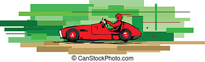 old sports car - vector impression illustration of retro...