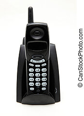 isolated black cordless phone on white