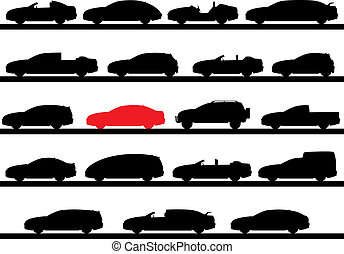 silhouettes of cars - A Vector eps 8 illustration of...